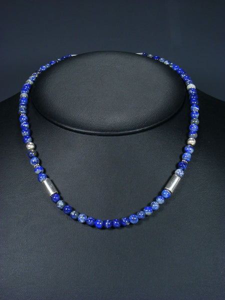 "Lapis 18"" Single Strand Choker Bead Necklace"