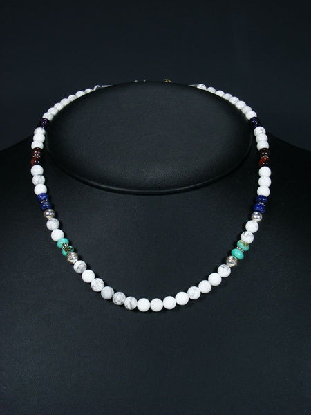 "White Marble 18"" Single Strand Choker Bead Necklace"