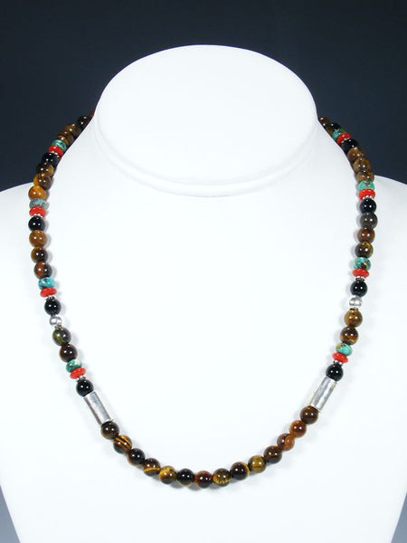 "Tiger Eye 18"" Single Strand Choker Bead Necklace"