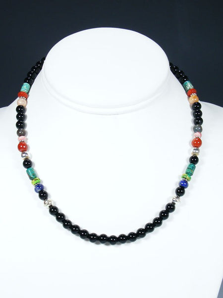 "16"" Black Onyx Single Strand Beaded Necklace"
