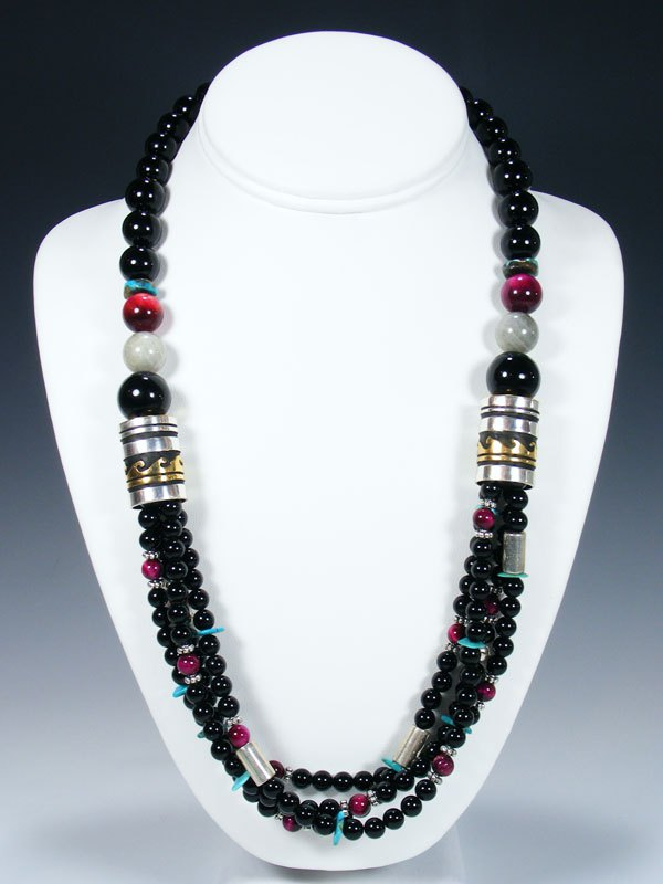 "24"" Navajo Turquoise and Onyx Multi Strand Beaded Necklace"