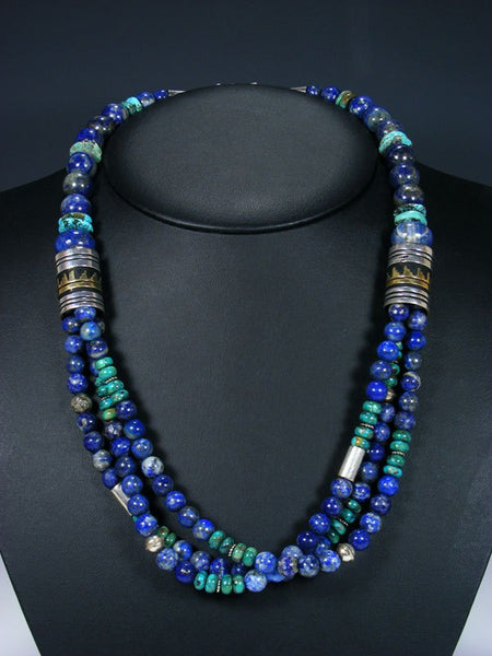"24"" Lapis and Turquoise Multi Strand Bead Necklace"