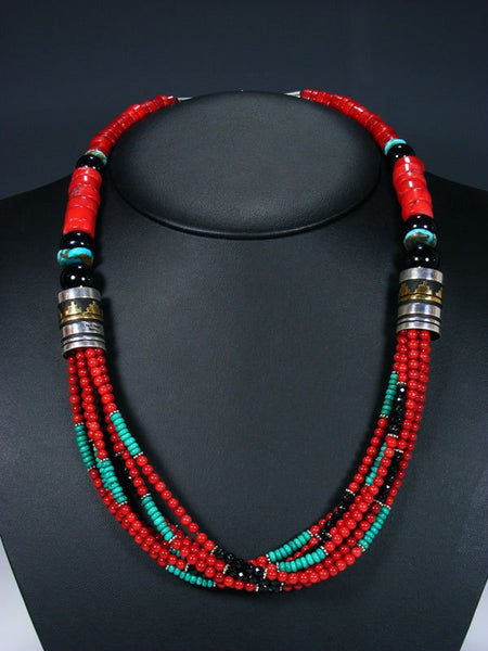 "24"" Navajo Coral and Turquoise Multi Strand Beaded Necklace"