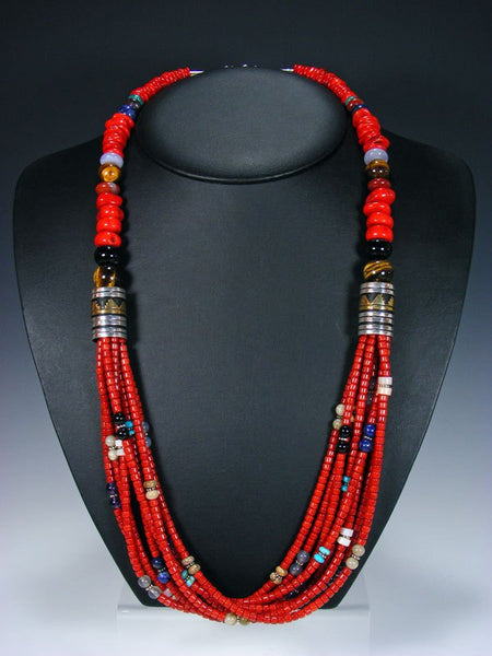 "Coral Multi Strand 30"" Beaded Necklace"
