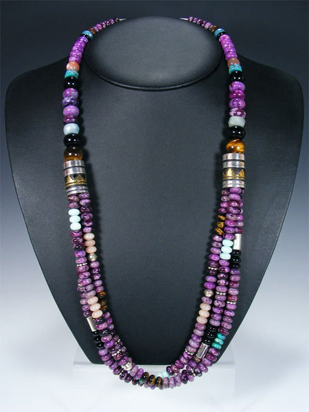 "Purple Dyed Jasper Multi Strand 30"" Beaded Necklace"