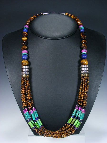 "Tigers Eye and Turquoise Multi Strand 30"" Beaded Necklace"
