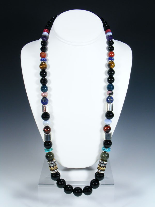 "Navajo Black Onyx Single Strand Bead 28"" Necklace"