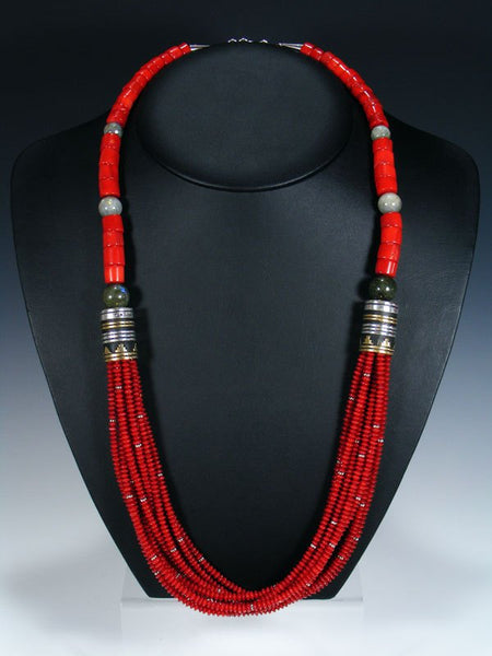 Native American Coral Multi Strand Beaded Necklace