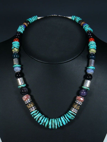 "Navajo Turquoise 21"" Single Strand Bead Necklace"