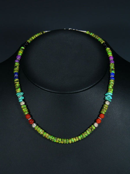 "Navajo 18"" Dyed Allunite Single Strand Beaded Necklace"