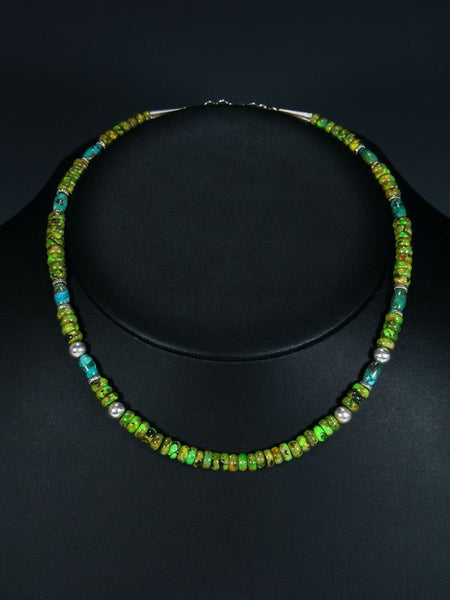 "Navajo 16"" Mojave Turquoise Single Strand Choker Necklace"