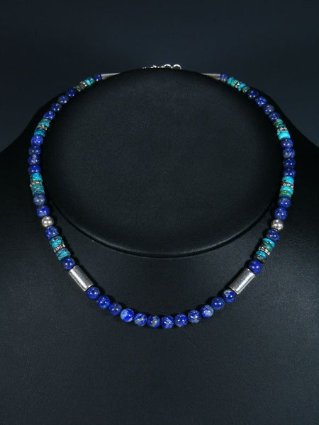 "Lapis and Turquoise 16"" Single Strand Bead Choker Necklace"