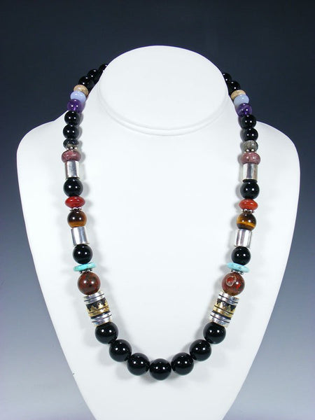 "21"" Onyx Large Single Strand Beaded Necklace"