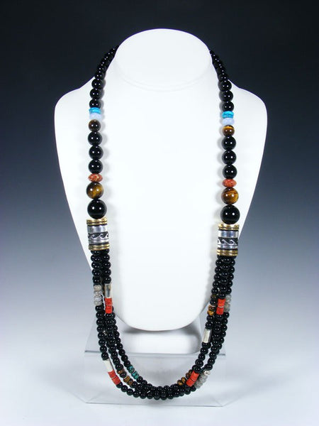 "Black Onyx and Apple Coral Multi Strand 30"" Beaded Necklace"