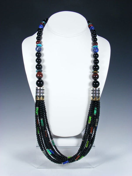 "Black Onyx and Lapis Multi Strand 30"" Beaded Necklace"