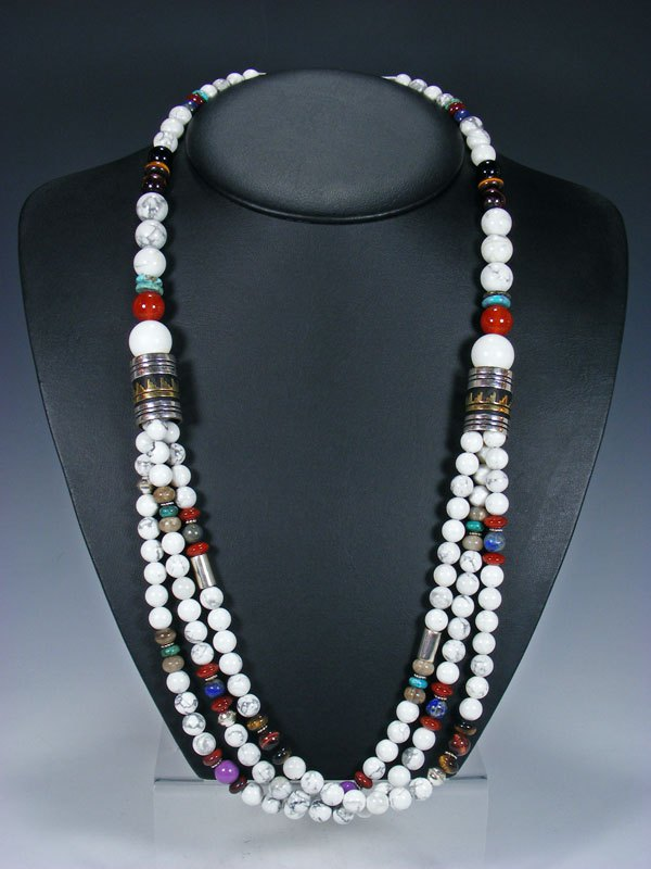 "White Marble Multi-Strand 30"" Beaded Necklace"