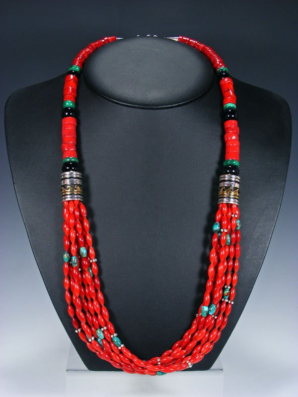 "Bamboo Coral and Onyx 30"" Multi Strand Beaded Necklace"
