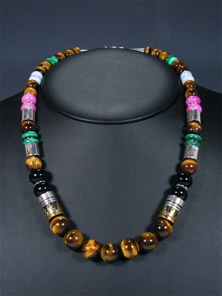 "21"" Tiger Eye Large Single Strand Beaded Necklace"