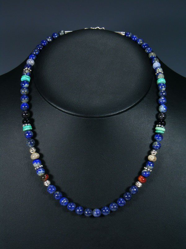 20 Single Strand Beaded Lapis And Turquoise Necklace By Tommy And Rosita Singer At Pueblodirect Com