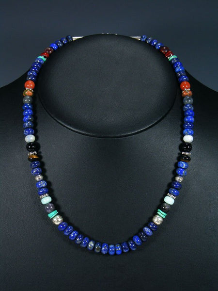 "20"" Single Strand Beaded Lapis and Turquoise Necklace"