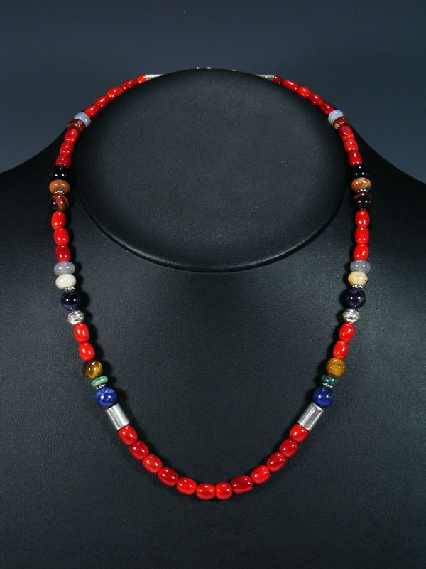 "20"" Single Strand Beaded Coral and Lapis Necklace"