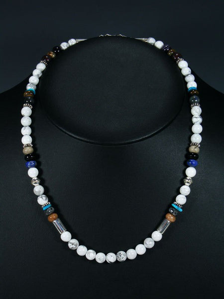 "20"" Single Strand Beaded White Marble and Lapis Necklace"