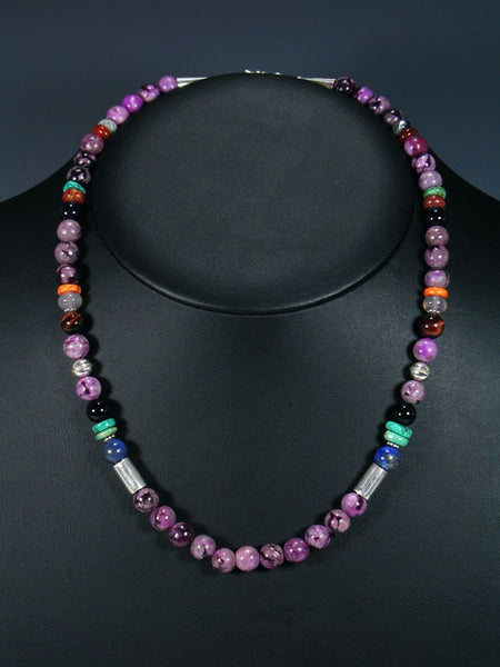 "20"" Single Strand Beaded Purple Dyed Jasper Necklace"