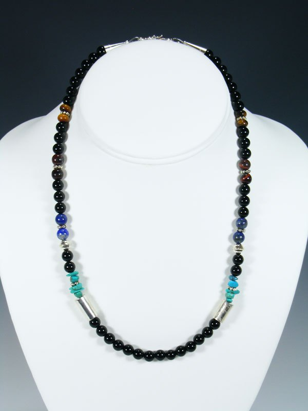 "Onyx 18"" Single Strand Choker Beaded Necklace"
