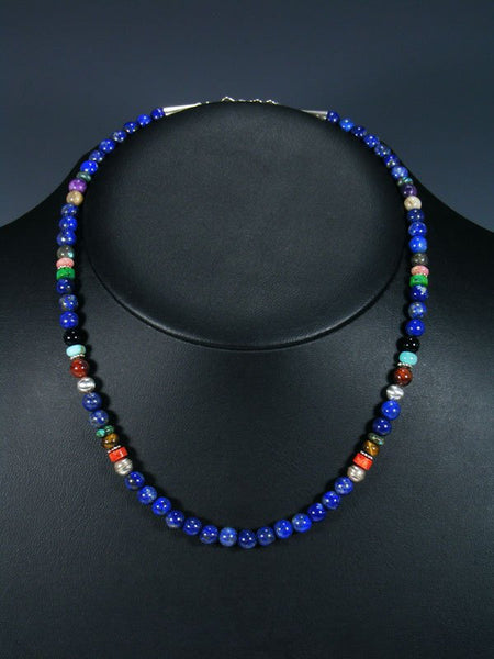 "Lapis 18"" Single Strand Choker Beaded Necklace"
