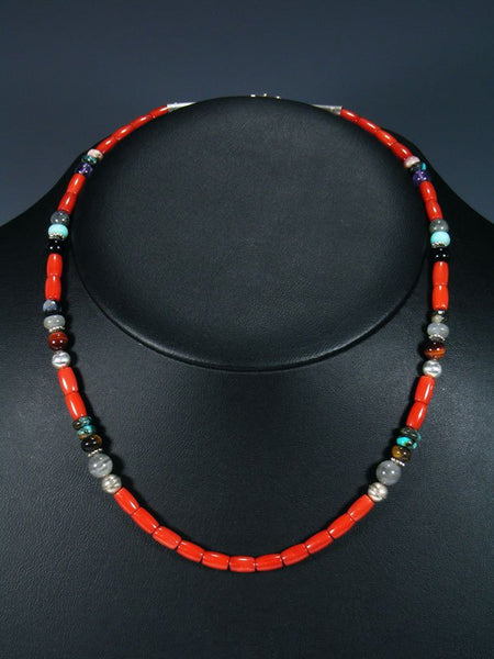 "Coral 18"" Single Strand Choker Beaded Necklace"
