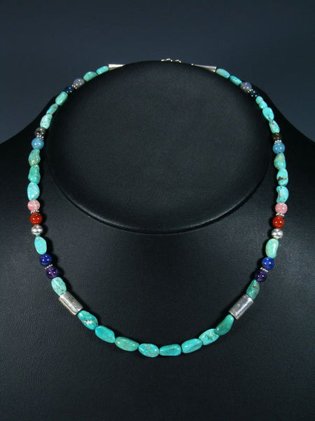 "Turquoise 18"" Single Strand Choker Beaded Necklace"