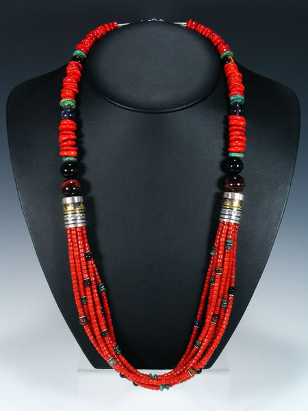 "Coral Turquoise and Onyx 30"" Multi Strand Beaded Necklace"
