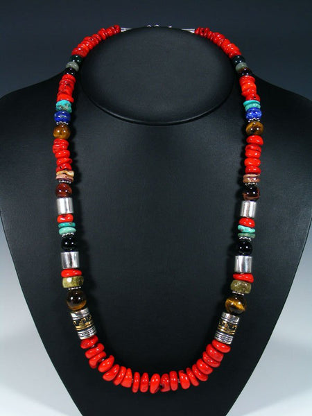 "Coral and Lapis 28"" Single Strand Beaded Necklace"