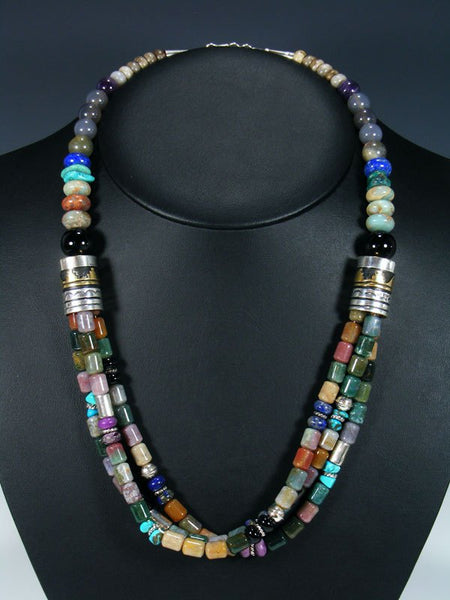 "Onyx and Agate Multi Strand Beaded 24"" Necklace"