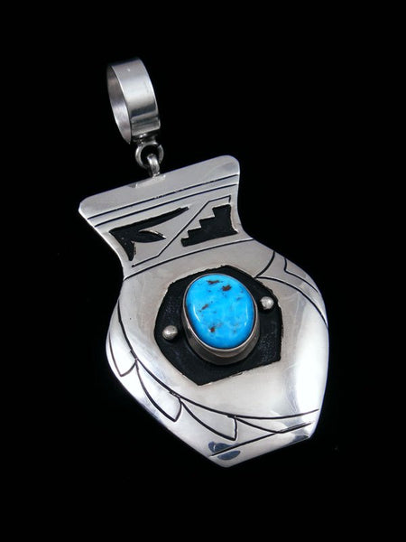 Native American Silver Overlay Sleeping Beauty Turquoise Pendant