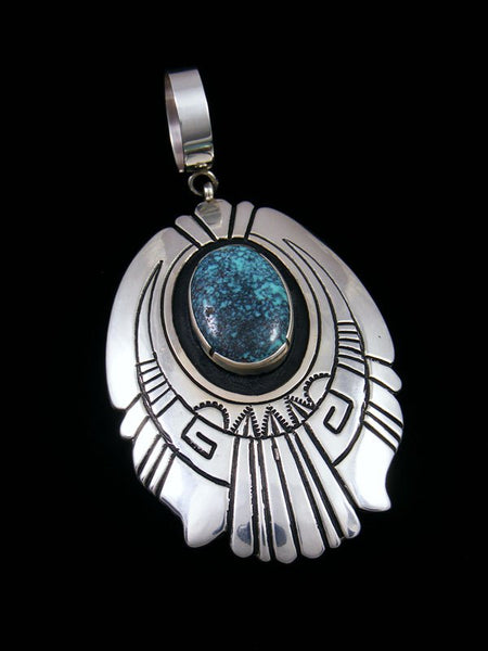 Native American Silver Overlay Cloud Mountain Turquoise Pendant