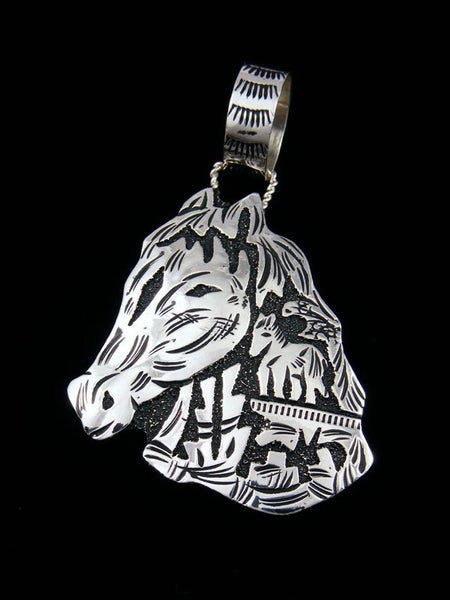 Native American Sterling Silver Overlay Horsehead Pendant