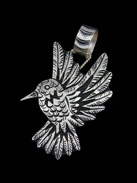 Native American Sterling Silver Overlay Hummingbird Pendant