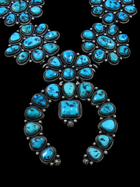 Native American Sleeping Beauty Turquoise Squash Blossom Necklace