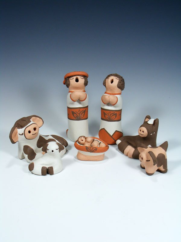 Isleta Pueblo Pottery Storyteller Doll Nativity Set