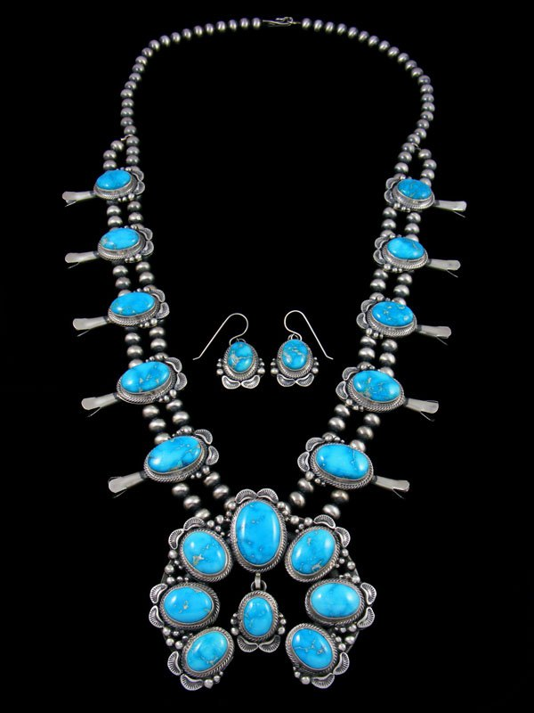Sonoran Rose Turquoise Sterling Silver Squash Blossom Necklace Set