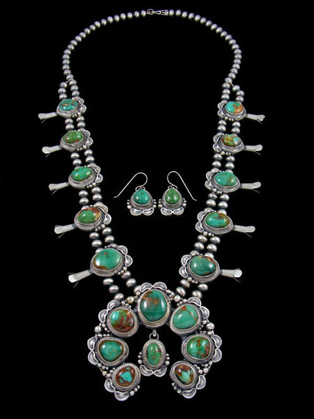 Natural High Grade Royston Turquoise Squash Blossom Necklace Set