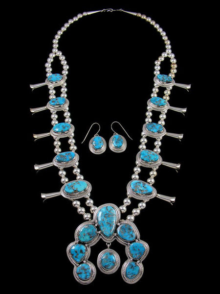 Native American Sterling Silver White Water Turquoise Squash Blossom Necklace Set