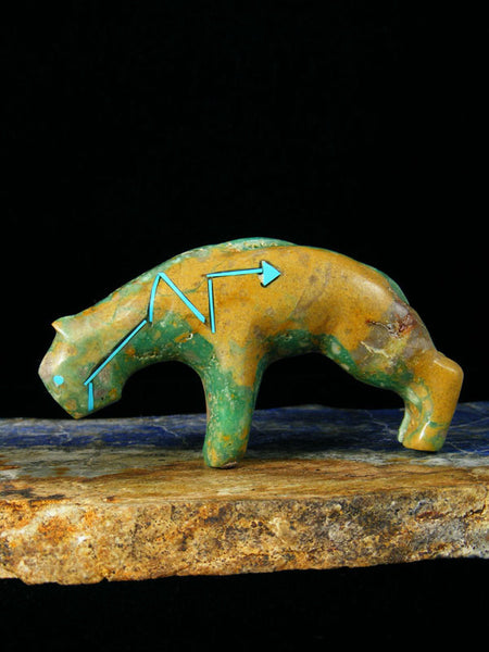 Turquoise Mountain Lion Zuni Fetish by Stewart Quandelacy - PuebloDirect.com - 1