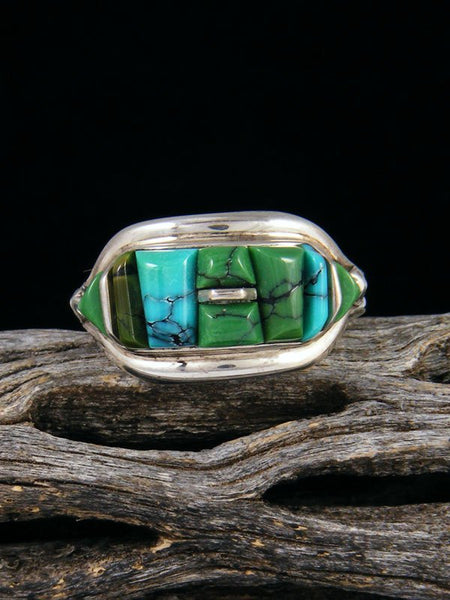 Cloud Mountain Turquoise Cobblestone Inlay Ring, Size 8