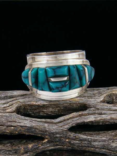 Cloud Mountain Turquoise Cobblestone Inlay Ring, Size 6