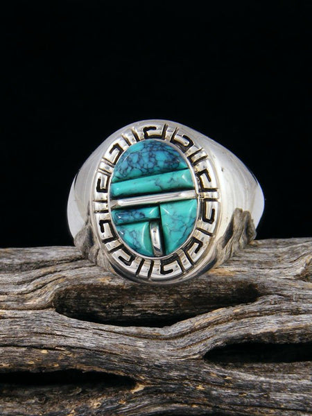 Cloud Mountain Turquoise Cobblestone Inlay Ring, Size 9