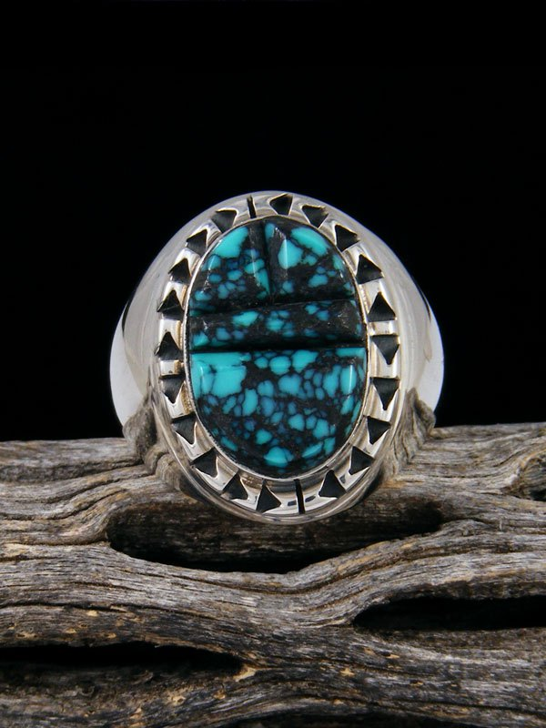 Cloud Mountain Turquoise Cobblestone Inlay Ring, Size 10
