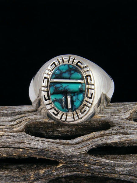 Cloud Mountain Turquoise Cobblestone Inlay Ring, Size 9 1/2