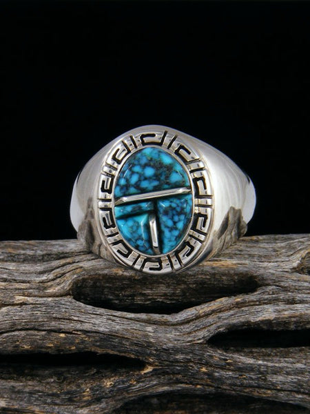 Cloud Mountain Turquoise Cobblestone Inlay Ring, Size 10 1/2